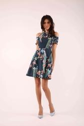 Granatowa rozkloszowana sukienka wiązana na karku