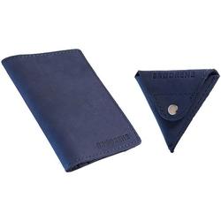 Skórzany zestaw portfel i bilonówka brodrene sw03 + cw01 granatowy - granatowy