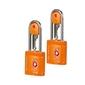 Dwie pomarańczowe kłódki zabezpieczająca na klucz z systemem tsa - orange