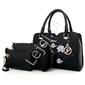 Elegancka czarna torebka z wyszytym modnym wzorem kwiatowym + organizer + saszetka