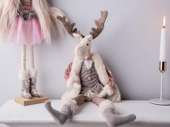 Dekoracja świąteczna  ozdoba pluszowa na boże narodzenie altom design łoś  renifer w różowym kożuszku chłopiec 50 cm