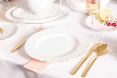 Talerz obiadowy płytki porcelana mariapaula złota linia 26 cm