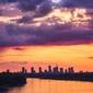 Warszawa zachód słońca nad wisłą - plakat premium wymiar do wyboru: 59,4x84,1 cm