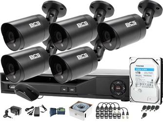 5x bcs-tq4503ir3-g zestaw do monitoringu po skrętce z podglądem nocnym: rejestrator bcs-xvr08014ke +dysk 1tb + akcesoria
