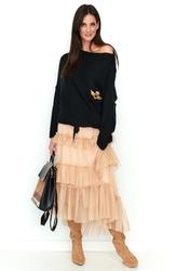 Beżowa tiulowa asymetryczna spódnica maxi z falbankami