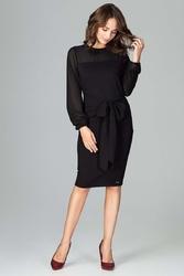 Czarna elegancka sukienka z transparentnymi rękawami