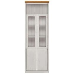 Witryna sosnowa anita biała z wieńcem w kolorze naturalnym  74x34x219 cm
