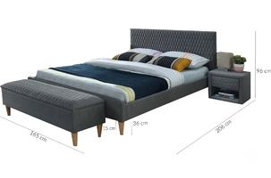 Łóżko tapicerowane trace 160x200 szare glamour