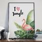 Plakat w ramie - i love jungle , wymiary - 20cm x 30cm, ramka - biała