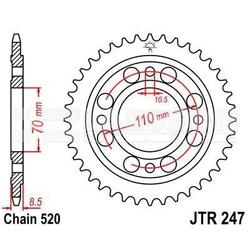 Zębatka tylna stalowa jt 247-41, 41z, rozmiar 520 2300243 honda cb 400