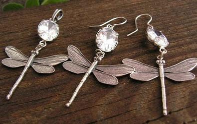 Ważki - srebrny z kryształem swarovskiego
