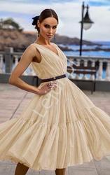 Budyniowo waniliowa sukienka midi z złotym brokatem, paris