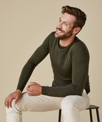 Sweter merino zielony s