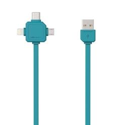 Kabel usb 3.1, usb 2.0- usb c  lightning  micro-usb, 1.5m, 3w1, niebieski, powercube, płaski
