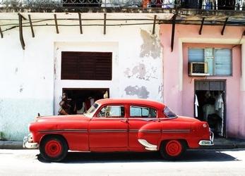 Havana cuba, cadillac - fototapeta