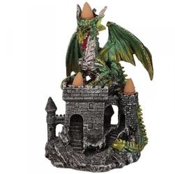 Zielony smok na zamku - podstawka na kadzidła backflow