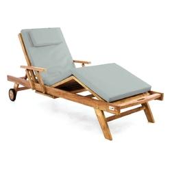 Leżak ogrodowy z drewna teakowego szary
