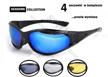 Okulary sportowe z gąbką antyalergiczną - 4 wymienne szkła
