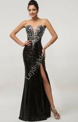 Zmysłowa czarna cekinowa suknia wieczorowa z kryształkami