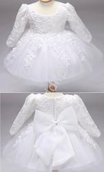 Biała sukienka tiulowa z długim rękawem, na chrzciny