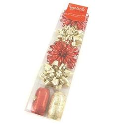 Zestaw do pakowania prezentów - 2 wstążki i 4 rozety - złoto-czerwony - złoto-czerwony