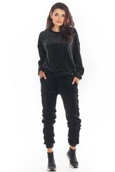 Czarne welurowe spodnie z logowanym lampasem