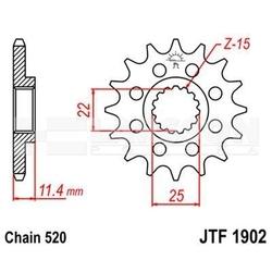 Zębatka przednia jt f1902-17, 17z, rozmiar 520 2200594 ktm lc4-e 640, adventure 640