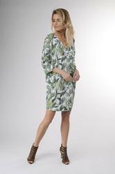 Zielona prosta krótka sukienka z rękawem 34