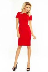Czerwona Sukienka Ołówkowa na Krótki Rękaw