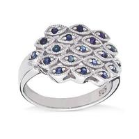 Pavo srebrny pierścionek z niebieskimi szafirami