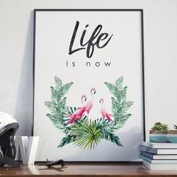 Plakat w ramie - life is now , wymiary - 60cm x 90cm, ramka - biała