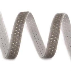 Tasiemka aksamitka w kropki 9 mm1m - szary - SZA