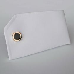 Eleganckie czarne spinki do mankietów ośmiokątne w złotych obwódkach