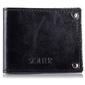 Skórzany cienki portfel wizytownik solier sw21 czarny - czarny