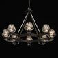 Niezwykły 8-ramienny żyrandol loft czarny, szklane, cieniowane klosze regenbogen 104012408