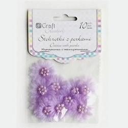 Stokrotki materiałowe z perełkami 10 szt. - fiolet - FIO