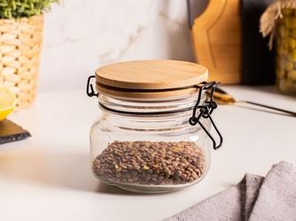 Słoik  pojemnik szklany na produkty sypkie altom design 500 ml z pokrywą i klipsem