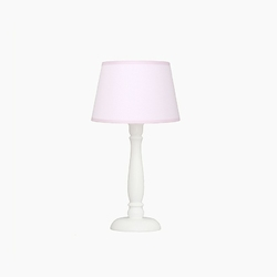 Lampka nocna roomee decor - pudrowa z różową lamówką