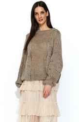 Cappuccino luźny sweter z ażurowym wzorem