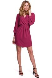 Koktajlowa sukienka mini z kopertowym dekoltem i bufiastymi rękawami śliwkowa k044