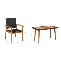 Zestaw ogrodowy stół + 6 krzeseł donatella polirattan czarny