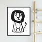 Mr. lion - plakat dla dzieci , wymiary - 50cm x 70cm, kolor ramki - czarny