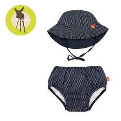 Zestaw plażowy majtki z pieluszką+kapelusz splashfun uv 50+ - polka dots navy 6mc