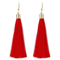 Kolczyki długie wiszące frędzle chwost czerwone
