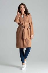 Beżowy niezapinany prosty płaszcz z paskiem