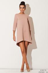 Różowa Asymetryczna Sukienka Pikowana