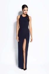 Granatowa sukienka elegancka maxi długim rozporkiem