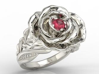 Pierścionek z białego złota w kształcie róży z rubinem i diamentami ap-95b - białe  rubin