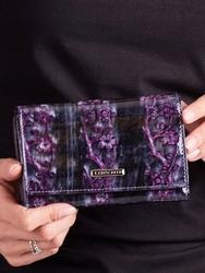Skórzany portfel damski lakierowany fioletowy lorenti - fioletowy