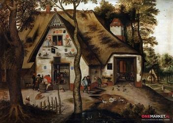 scena wioskowa - pieter brueghel młodszy ; obraz - reprodukcja